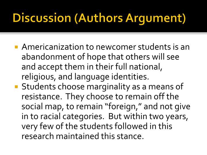 Discussion (Authors Argument)