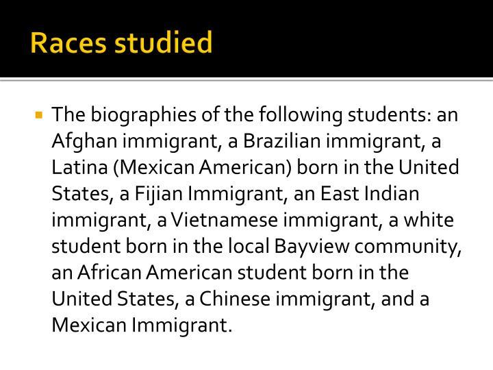 Races studied