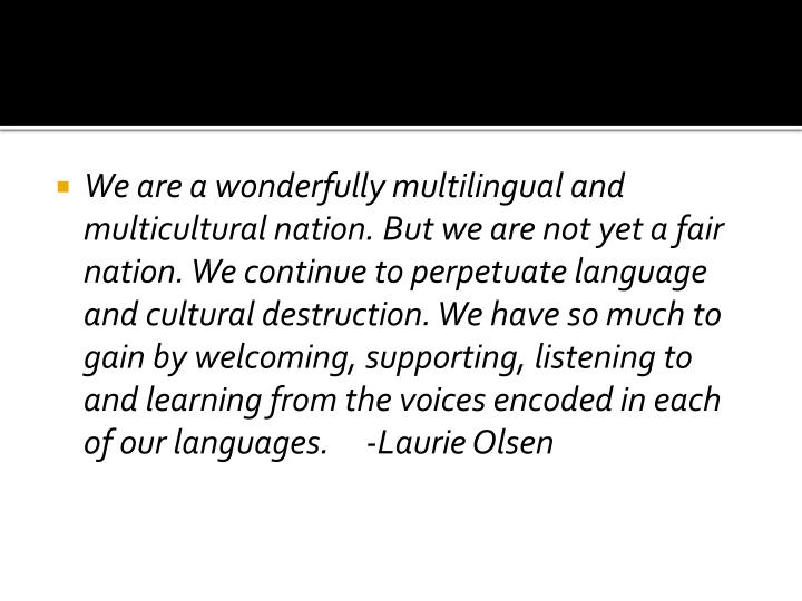 We are a wonderfully multilingual and multicultural nation. But we are not yet a fair nation. We con...