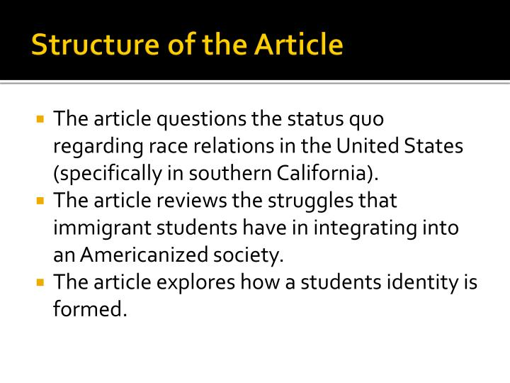 Structure of the Article