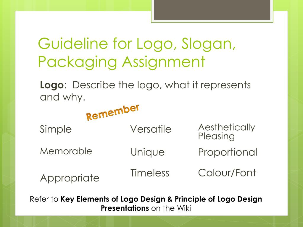 guideline for logo slogan packaging assignment n.