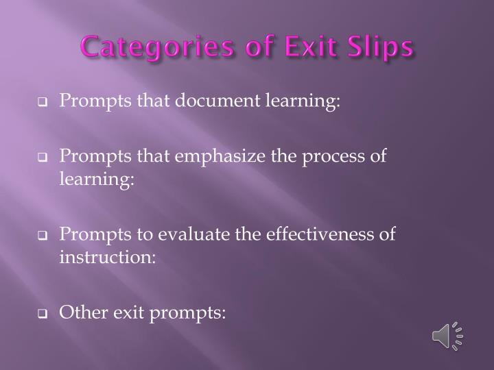 Categories of Exit Slips