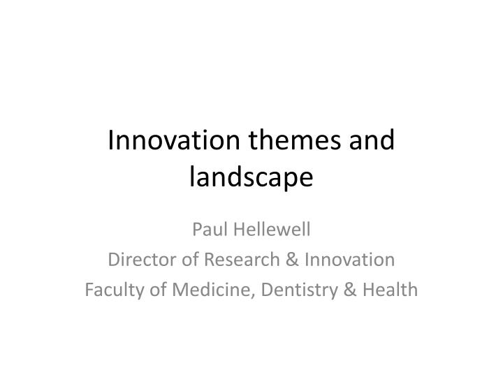innovation themes and landscape n.