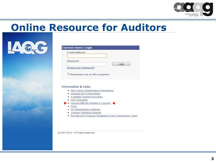 Online resource for auditors