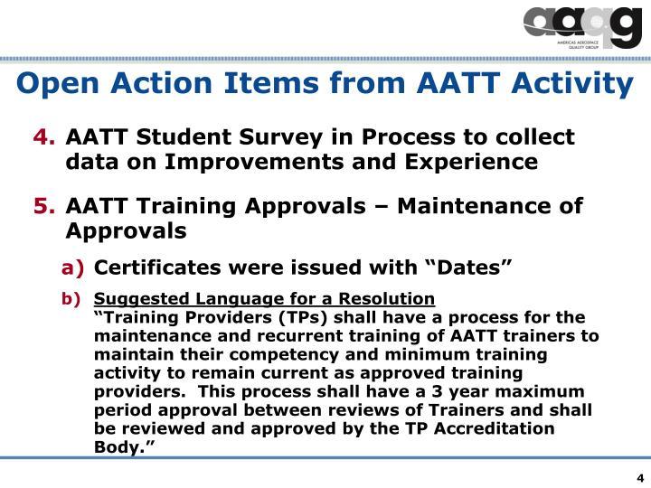 Open Action Items from AATT Activity