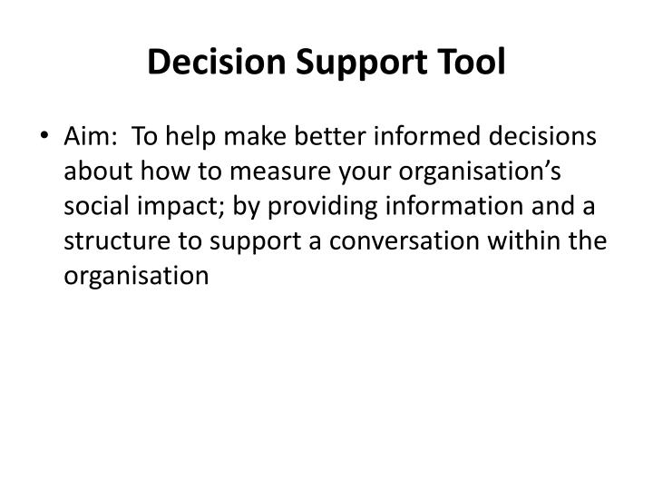 Decision Support Tool