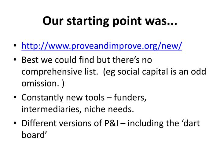 Our starting point was...