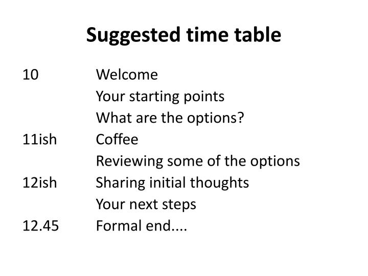 Suggested time table