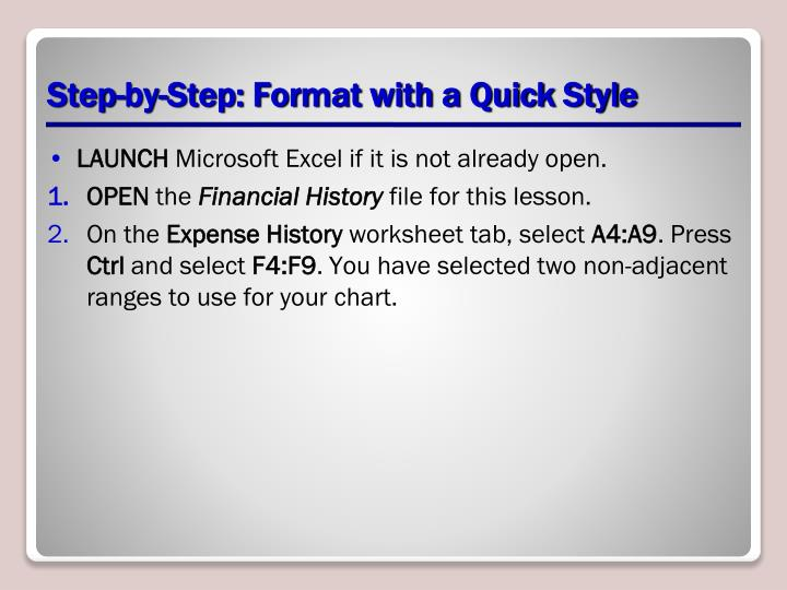 Step-by-Step: Format with a Quick Style