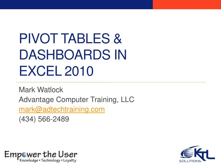 pivot tables dashboards in excel 2010 n.