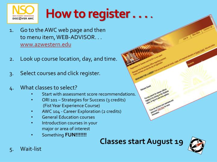 How to register . . .