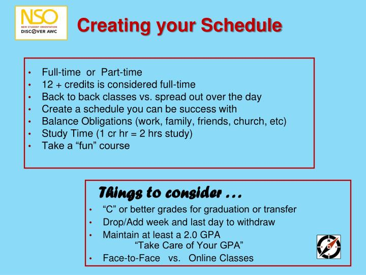 Creating your Schedule