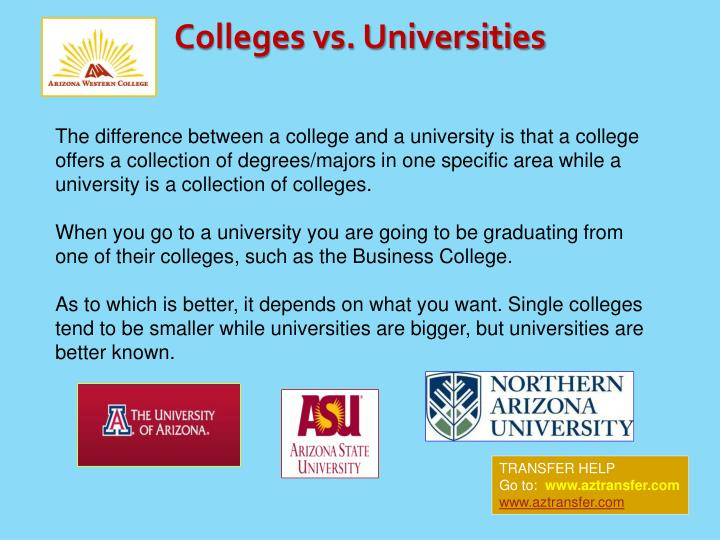 Colleges vs. Universities