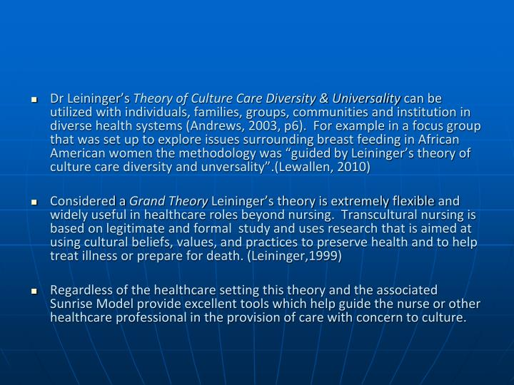 nursing leiningers theory essay Madeleine leininger theory of culture care nursing concepts of transcultural nursing analysis and critique of madeleine leininger nursing theory hildegard peplau nursing theory application of nursing theory virginia henderson theory of nursing nursing jean watsons theory of caring in insite nursing concept of caring in nursing theory.
