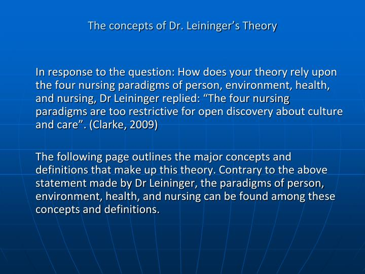 madeleine leininger theory of culture care diversity Culture care diversity indicates 'the variabilities and/or differences in meanings, patterns, values, lifeways or symbols of care within or between collectives that are related to assistive, supportive or enabling human care expressions.