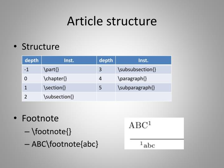 Article structure