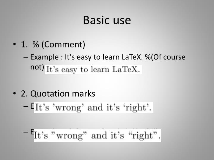 Basic use