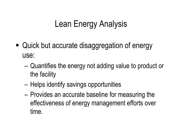Lean Energy Analysis