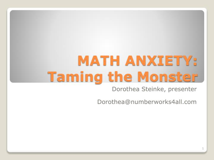 math anxiety taming the monster n.