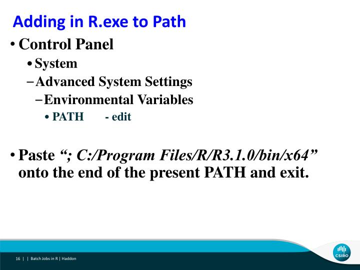 Adding in R.exe to Path
