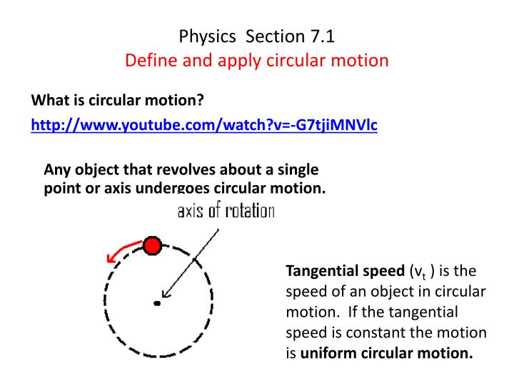 physics section 7 1 define and a pply circular motion n.