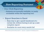 new reporting features
