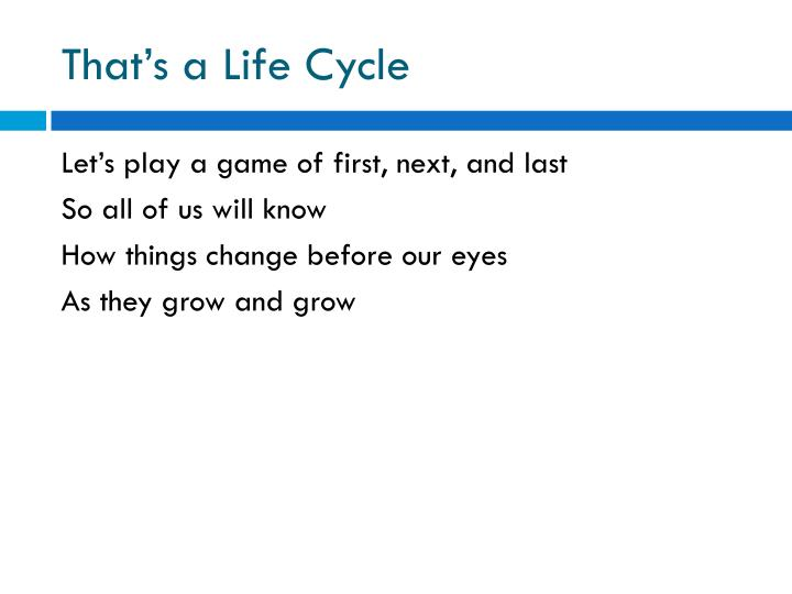 That's a Life Cycle