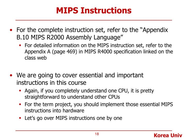 Ppt Lecture 4 Mips Mips Instructions 1 Arithmetic And Logical