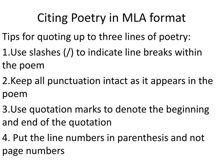 PPT - Citing Poetry in MLA format PowerPoint Presentation ...