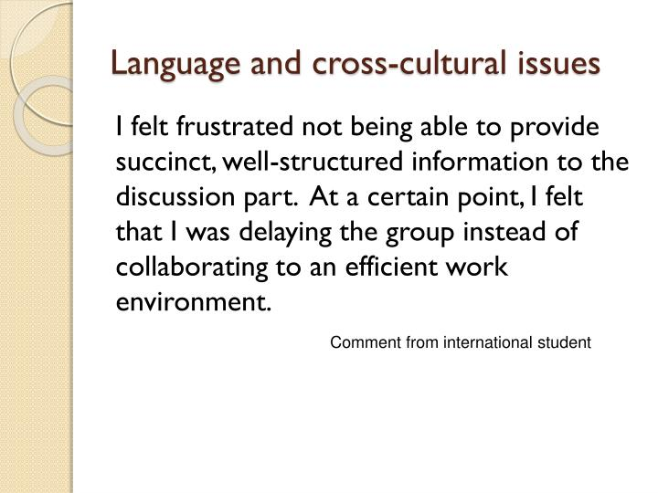 Language and cross-cultural issues