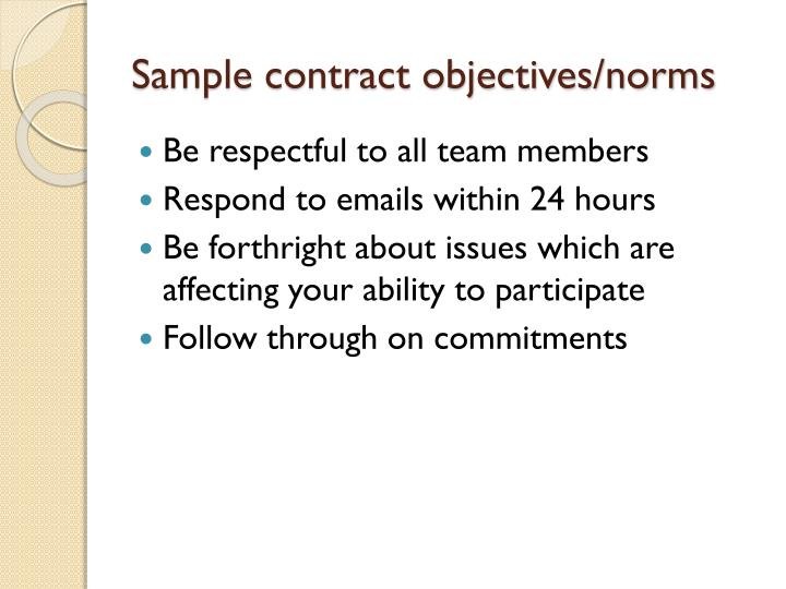 Sample contract objectives/norms