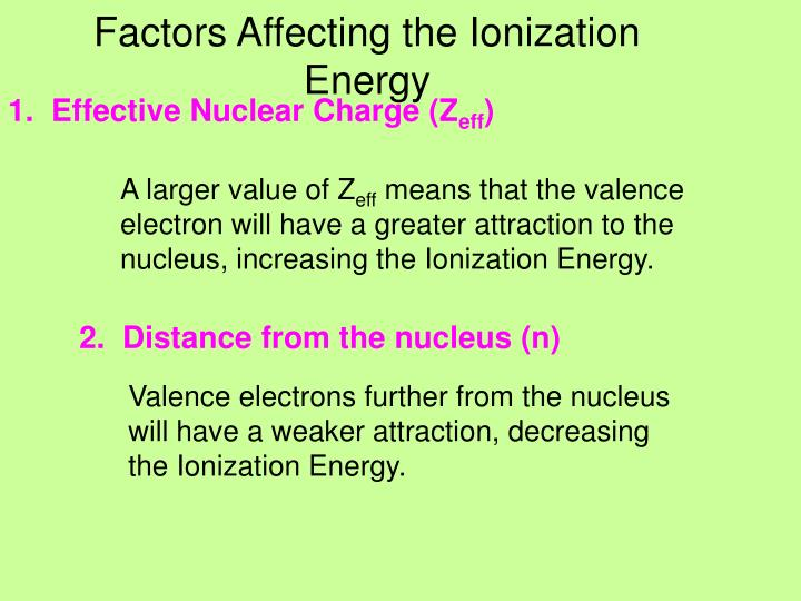 Factors Affecting the Ionization Energy