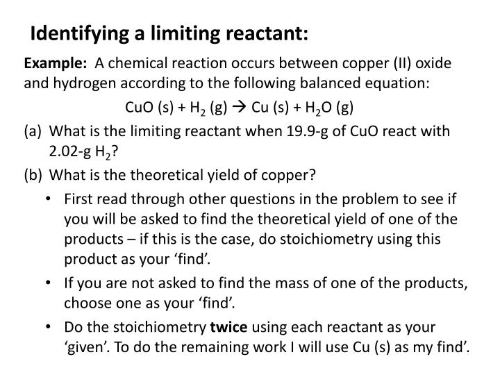 Identifying a limiting reactant