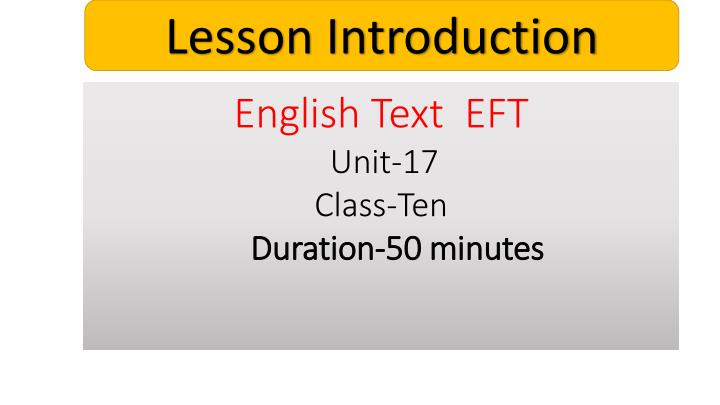 Lesson Introduction