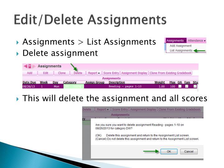 Edit/Delete Assignments