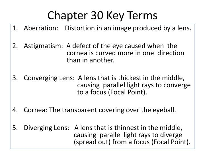 Chapter 30 Key Terms