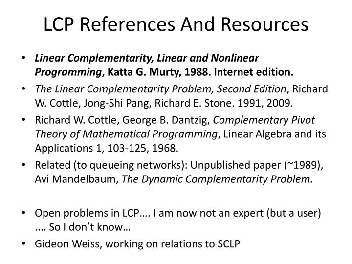 LCP References And Resources