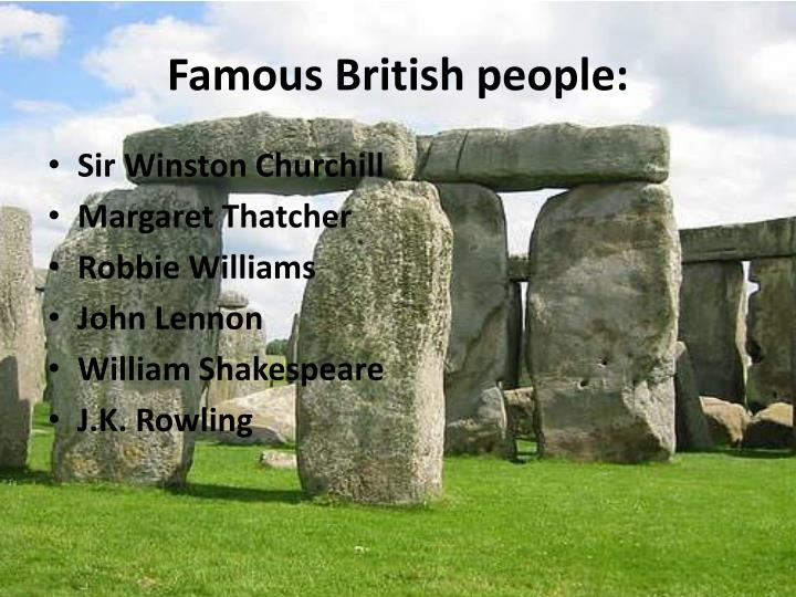 Famous British people: