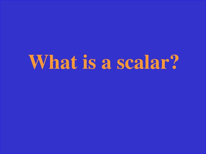 What is a scalar?
