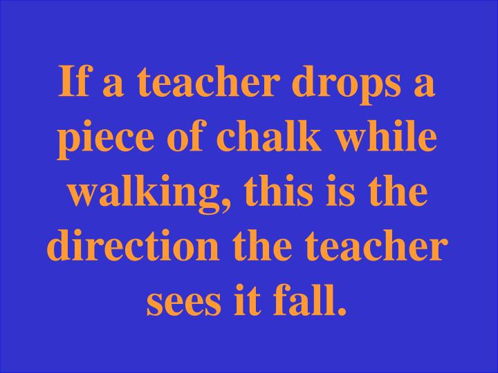 If a teacher drops a piece of chalk while walking, this is the direction the teacher sees it fall.