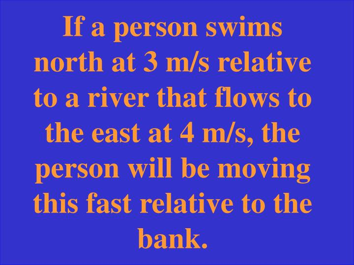 If a person swims north at 3 m/s relative to a river that flows to the east at 4 m/s, the person will be moving this fast relative to the bank.