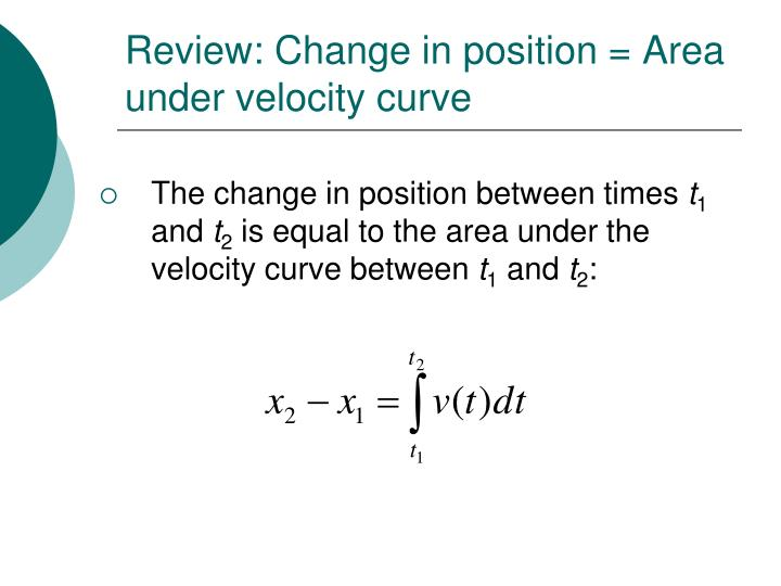 Review: Change in position = Area under velocity curve