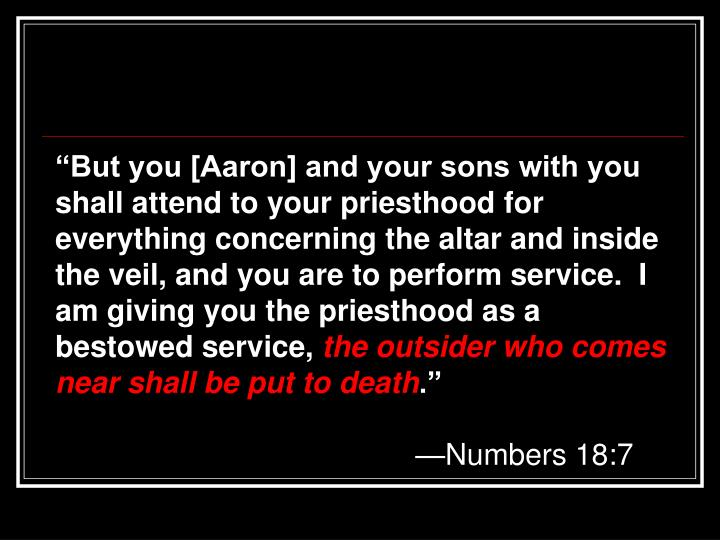 """""""But you [Aaron] and your sons with you shall attend to your priesthood for everything concerning the altar and inside the veil, and you are to perform service.  I am giving you the priesthood as a bestowed service,"""