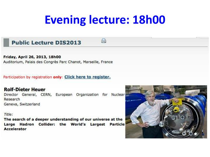 Evening lecture 18h00