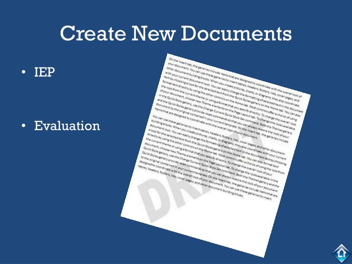 Create New Documents