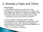 3 develop a topic and thesis