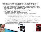 what are the readers looking for