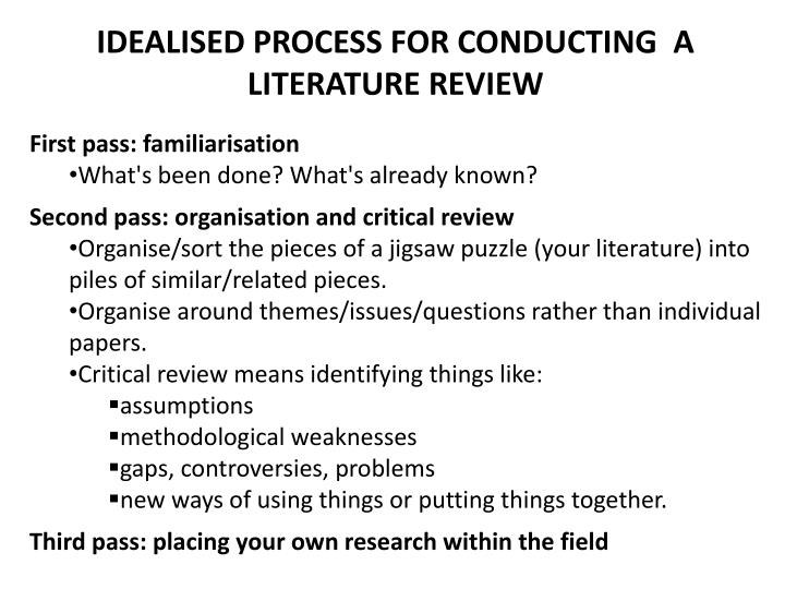 IDEALISED PROCESS FOR CONDUCTING  A