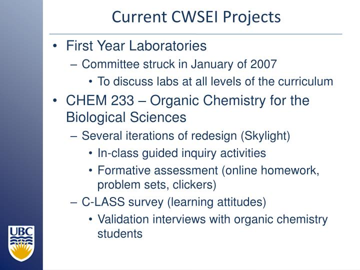 Current cwsei projects
