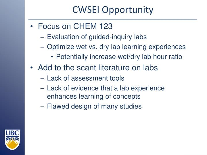 CWSEI Opportunity